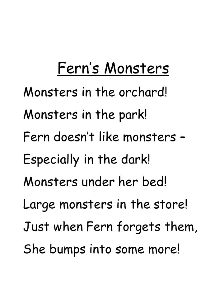 Fern's Monsters Monsters in the orchard! Monsters in the park!
