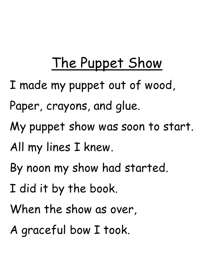 The Puppet Show I made my puppet out of wood,