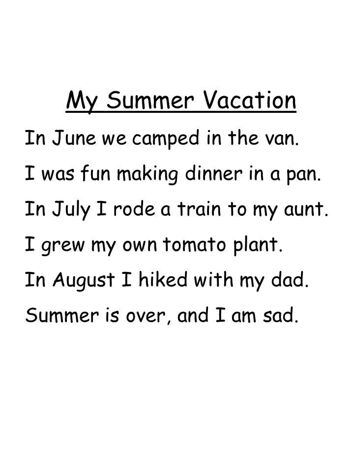 My Summer Vacation In June we camped in the van.