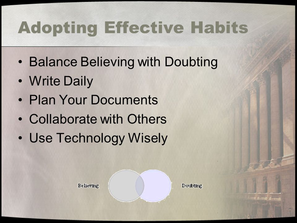 Adopting Effective Habits