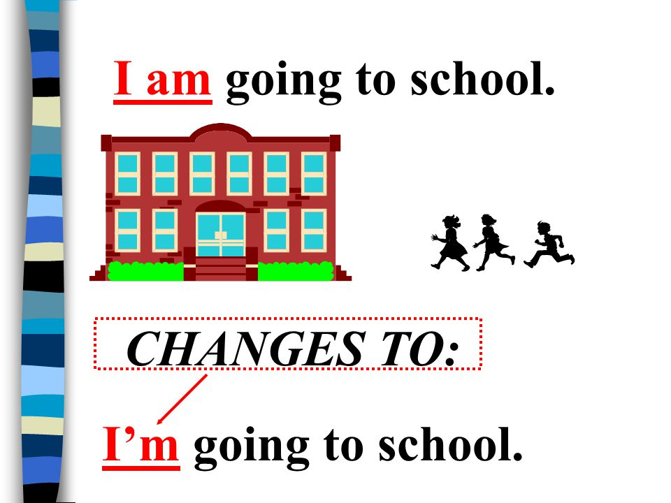 I am going to school. CHANGES TO: I'm going to school.