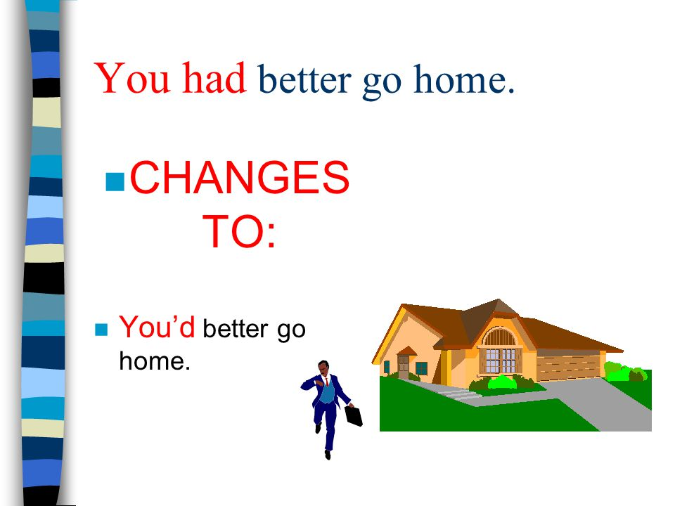 You had better go home. CHANGES TO: You'd better go home.