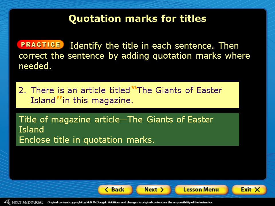Quotation marks for titles