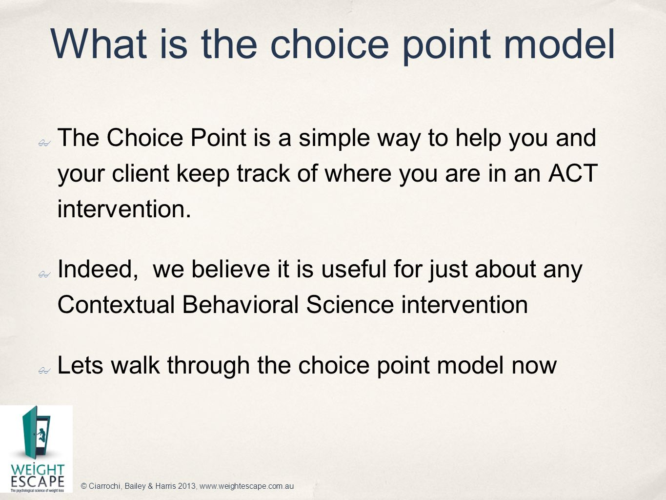 What is the choice point model
