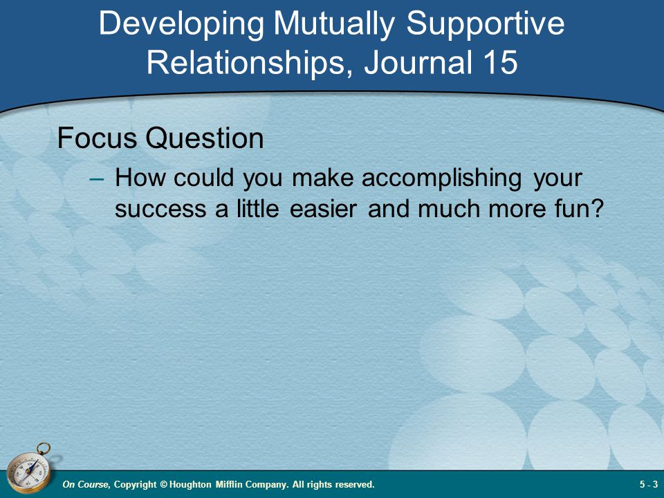 Developing Mutually Supportive Relationships, Journal 15