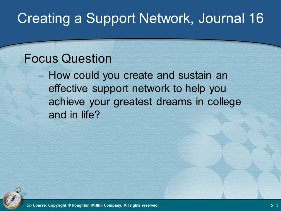 Creating a Support Network, Journal 16