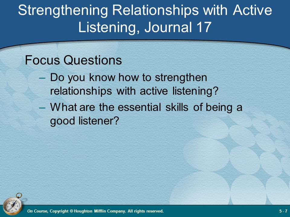 Strengthening Relationships with Active Listening, Journal 17