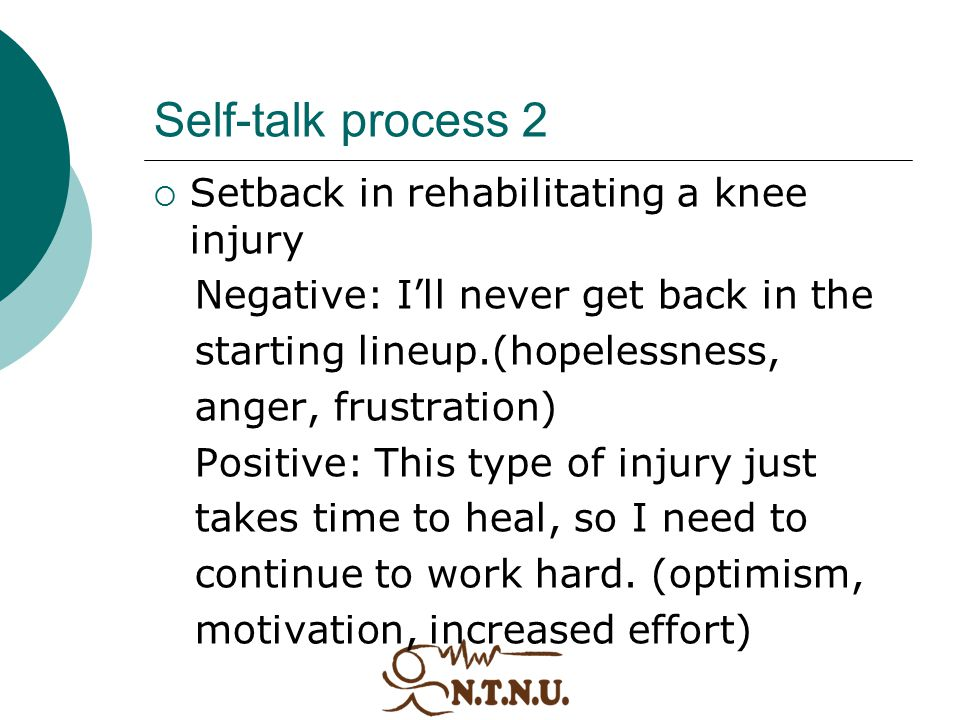 Self-talk process 2 Setback in rehabilitating a knee injury