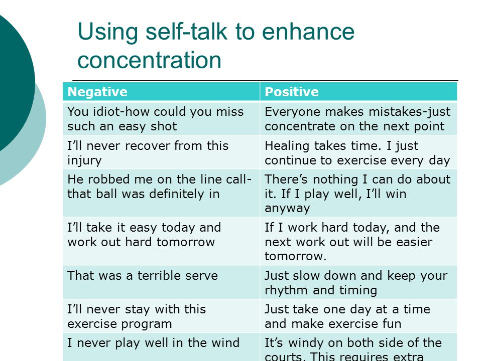 Using self-talk to enhance concentration