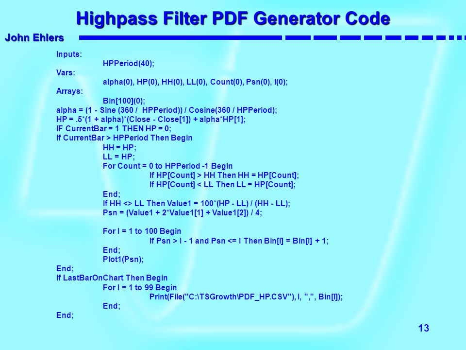 Highpass Filter PDF Generator Code