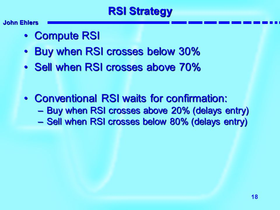 Buy when RSI crosses below 30% Sell when RSI crosses above 70%