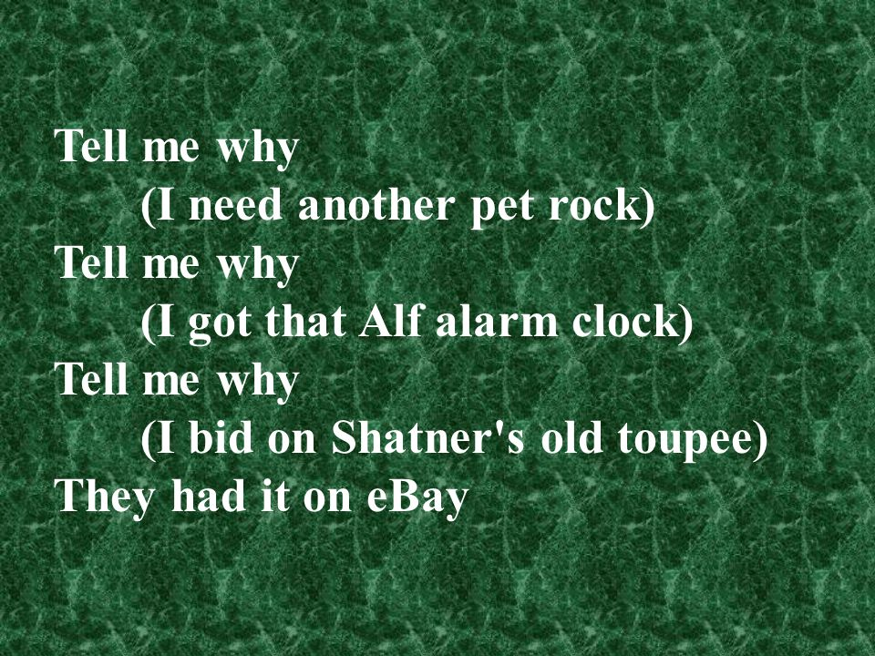 Tell me why (I need another pet rock) (I got that Alf alarm clock) (I bid on Shatner s old toupee)