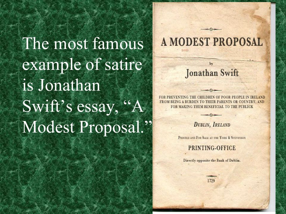 satirical essay jonathan swift The originality, concentrated power and 'fierce indignation' of his satirical writing have earned jonathan swift a reputation as the greatest prose satirist in english literature.