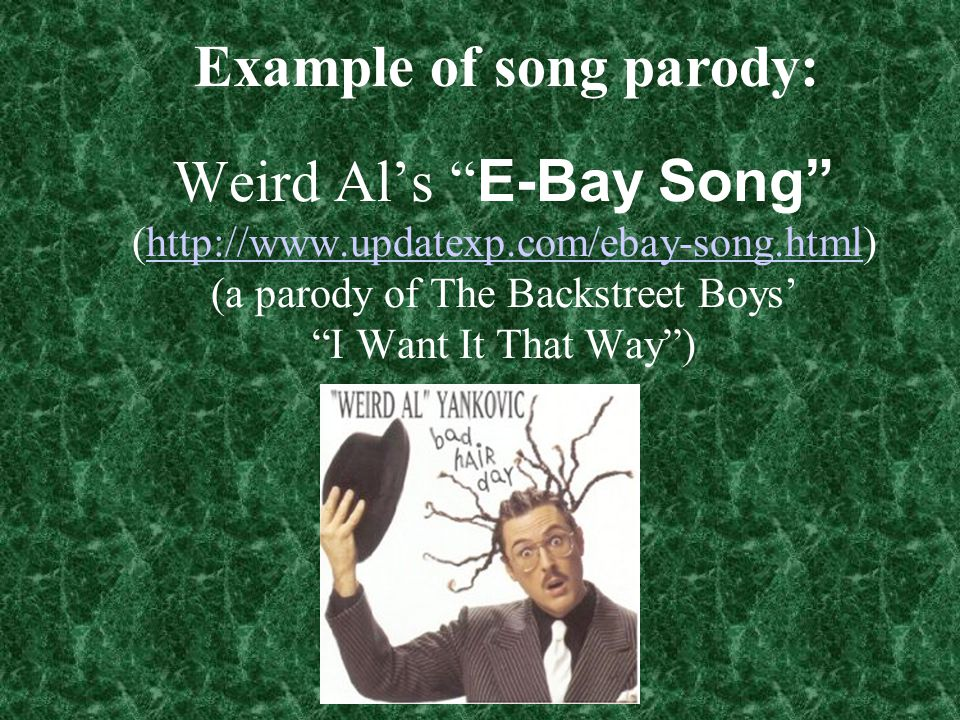 Example of song parody: