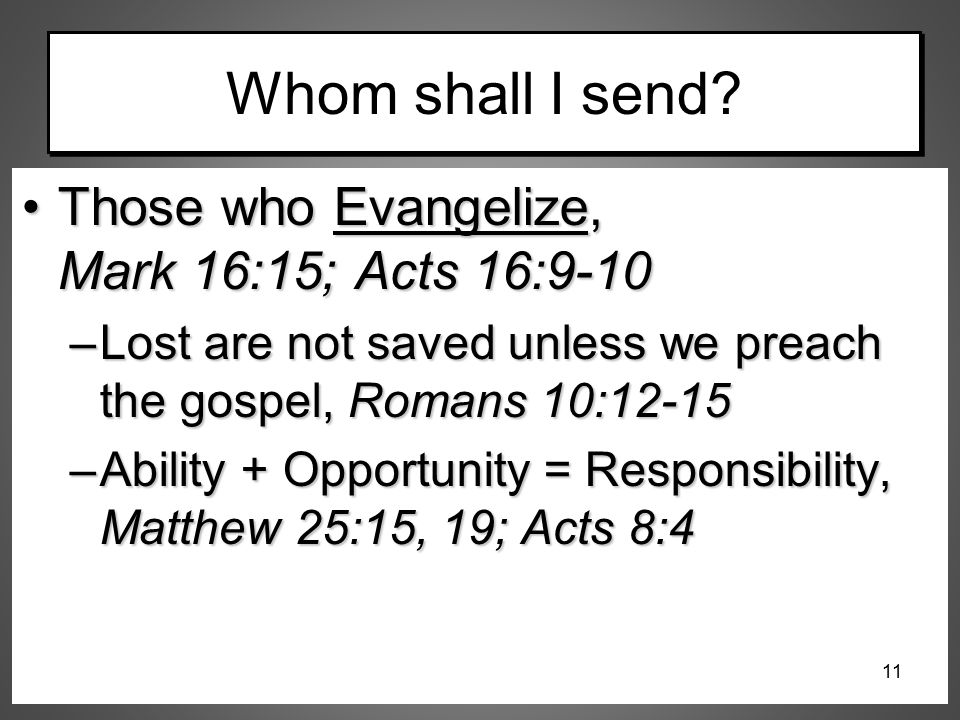 Whom shall I send Those who Evangelize, Mark 16:15; Acts 16:9-10