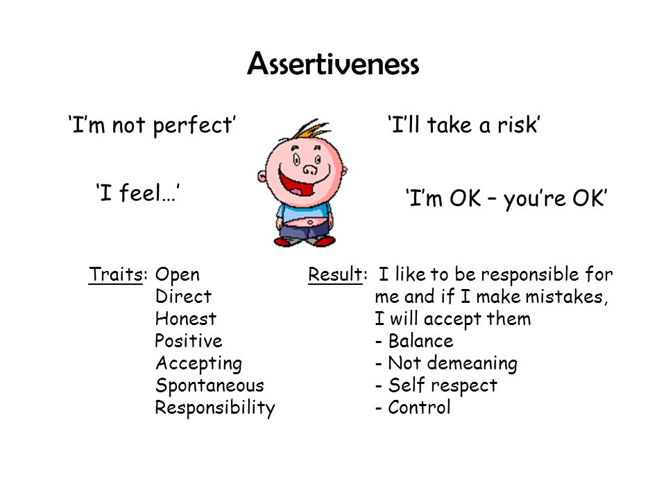 Assertiveness 'I'm not perfect' 'I'll take a risk' 'I feel…'