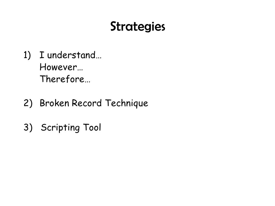 Strategies 1) I understand… However… Therefore…