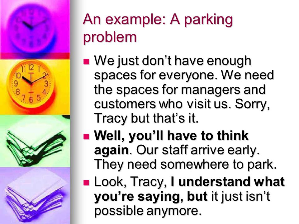An example: A parking problem