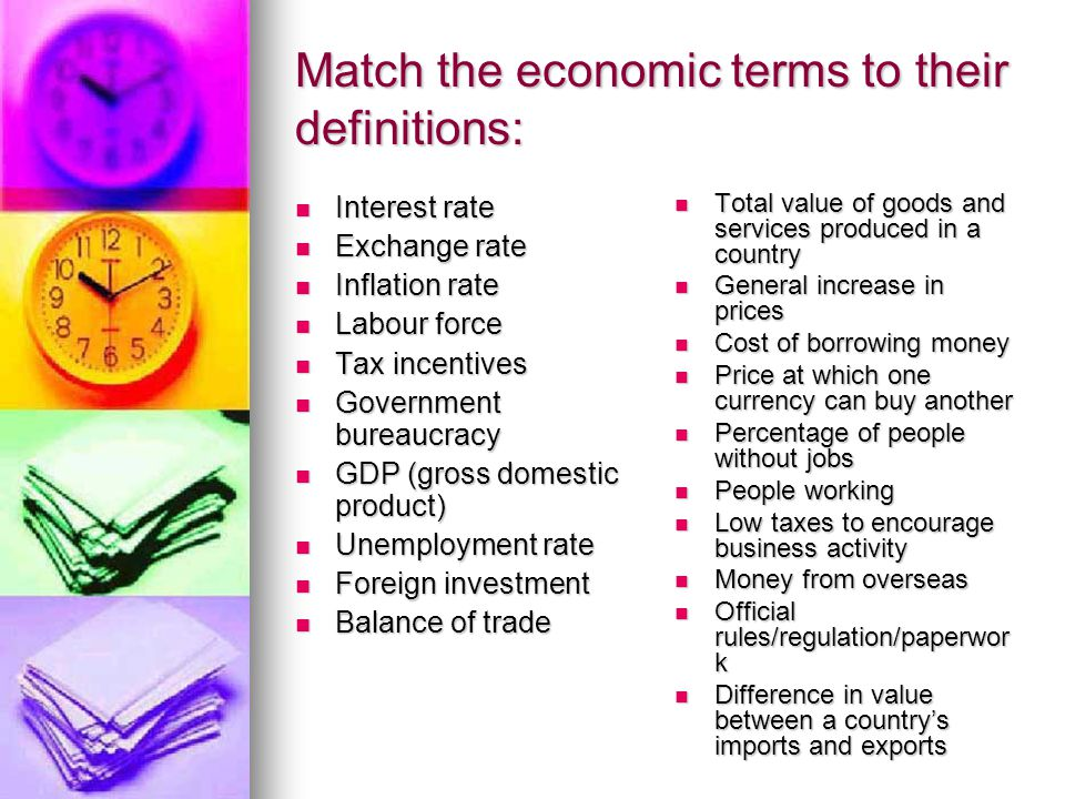 Match the economic terms to their definitions: