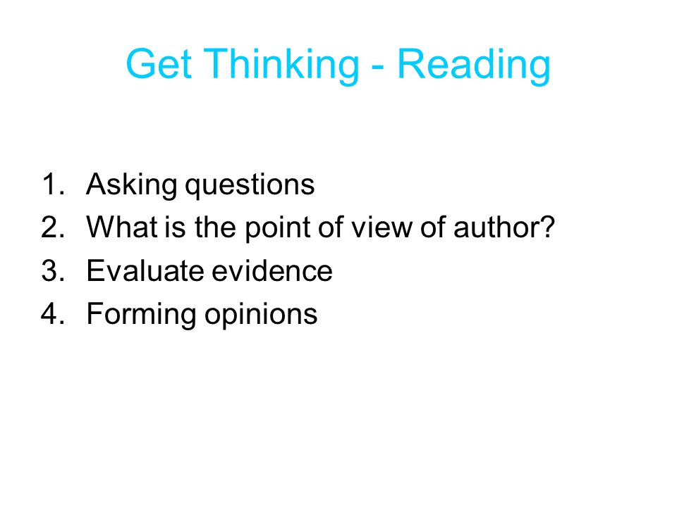 Get Thinking - Reading Asking questions