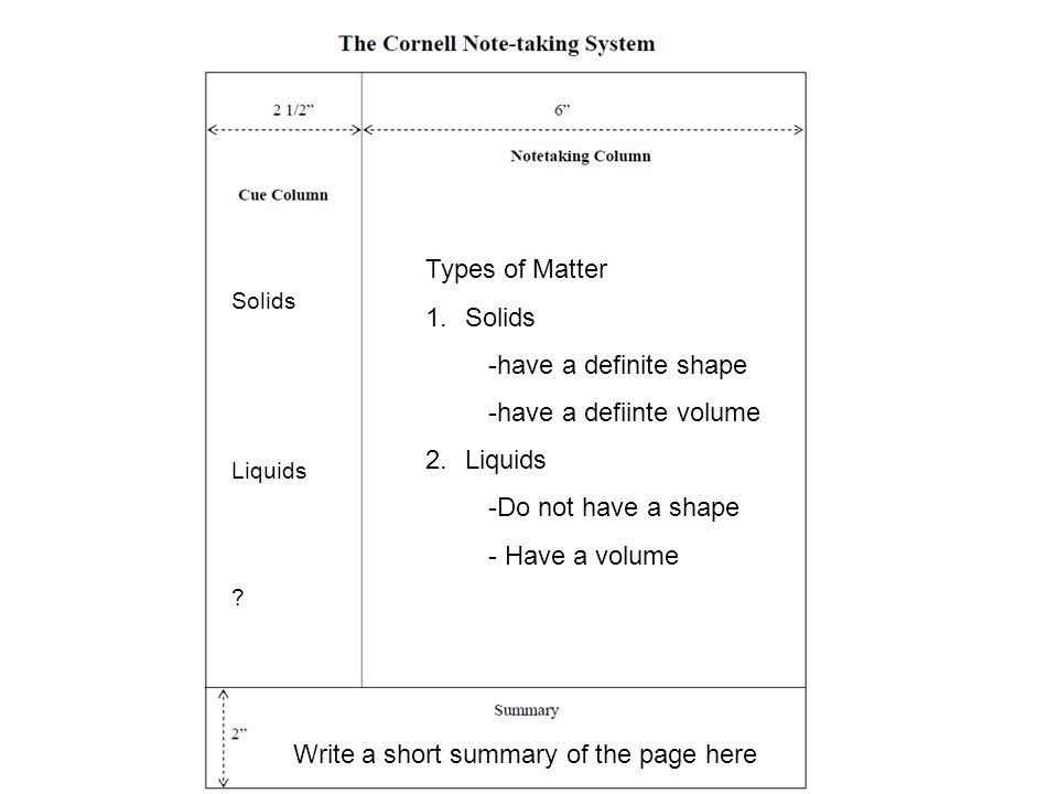 Taking Notes Types of Matter Solids -have a definite shape