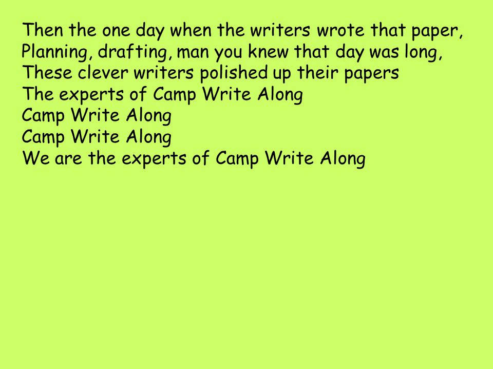 The experts of Camp Write Along Camp Write Along