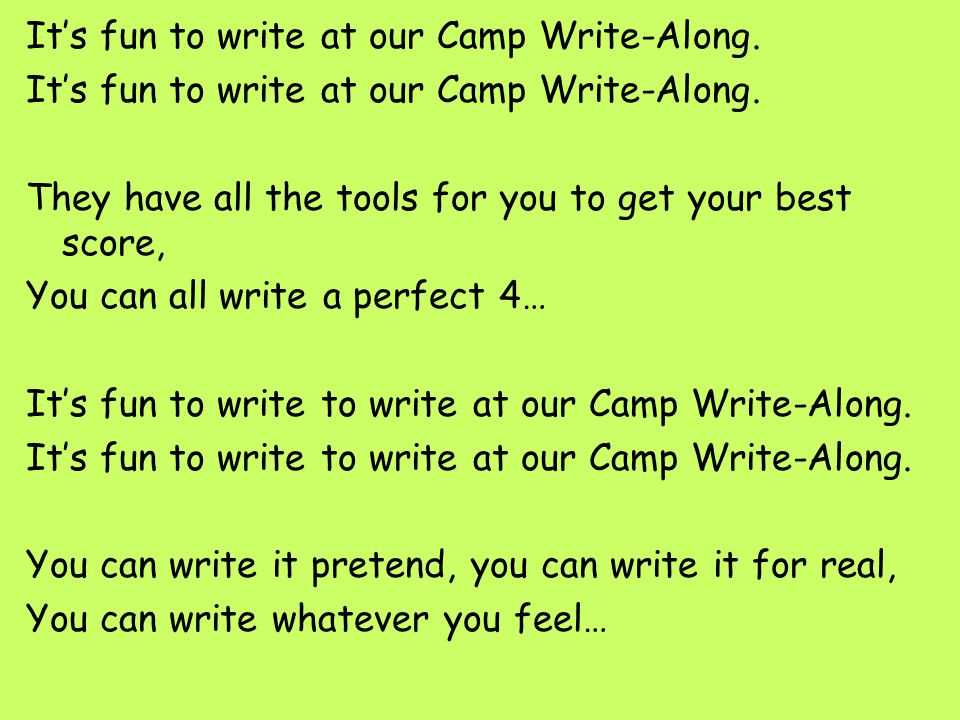 It's fun to write at our Camp Write-Along.