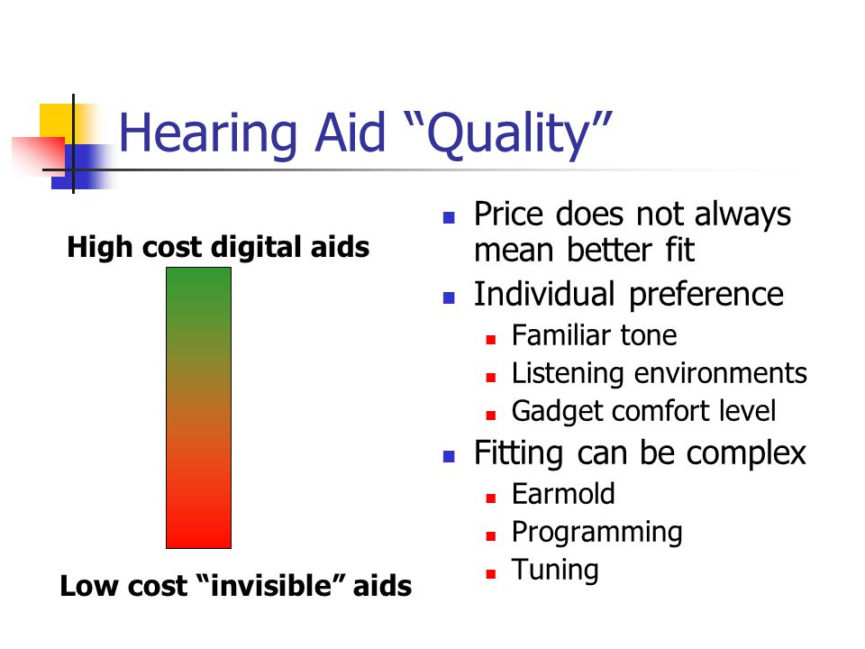 Hearing Aid Quality Price does not always mean better fit