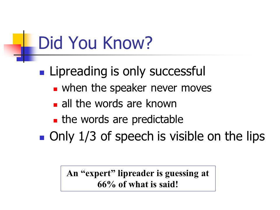 An expert lipreader is guessing at 66% of what is said!
