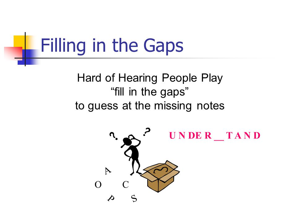 Filling in the Gaps Hard of Hearing People Play fill in the gaps