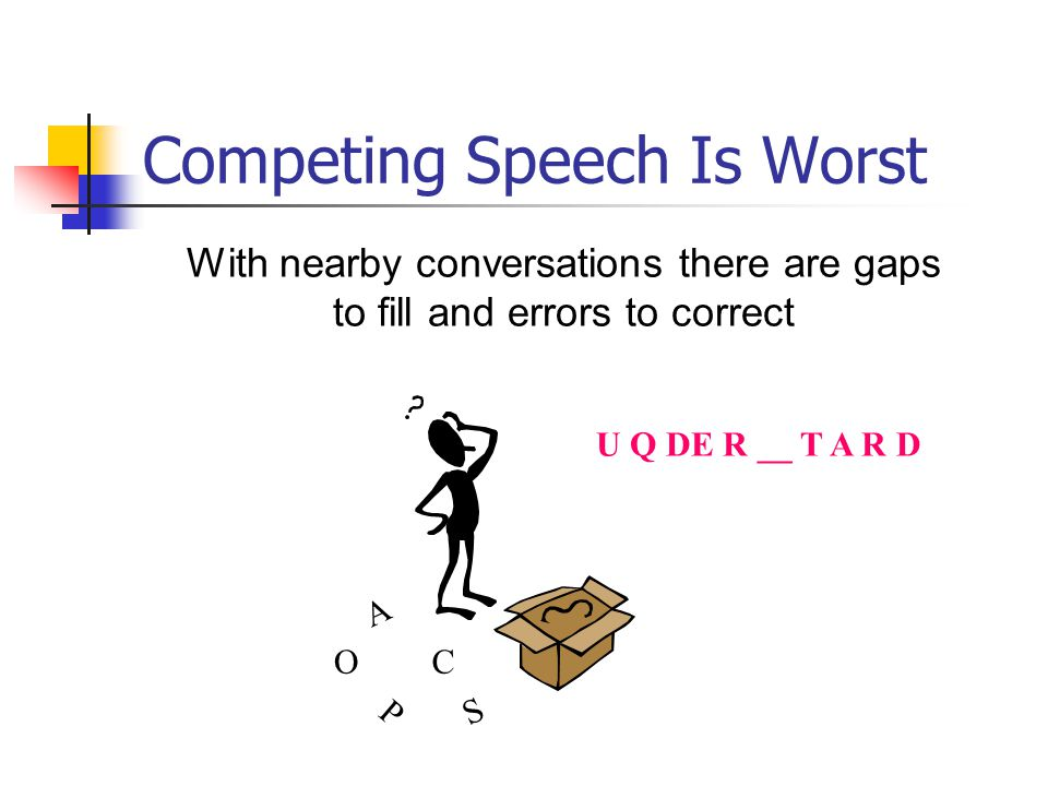 Competing Speech Is Worst