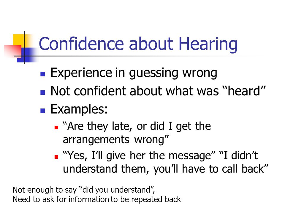 Confidence about Hearing