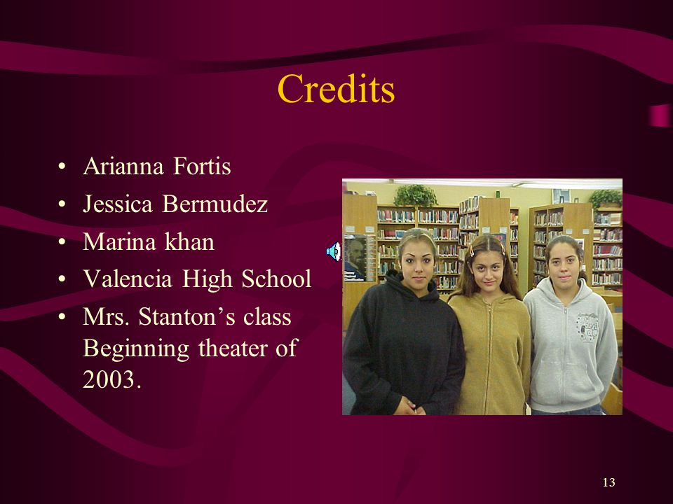 Credits Arianna Fortis Jessica Bermudez Marina khan