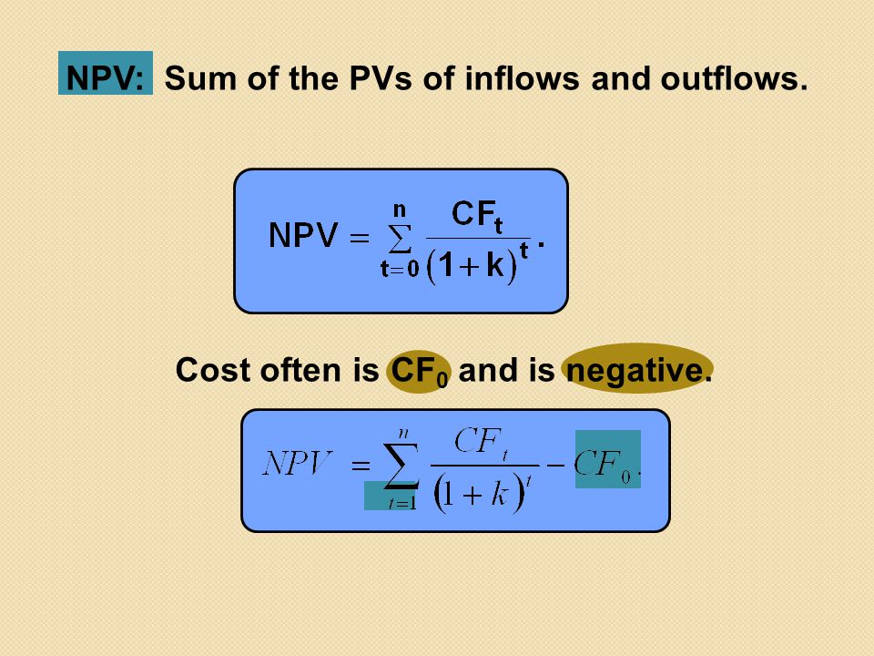 NPV: Sum of the PVs of inflows and outflows.