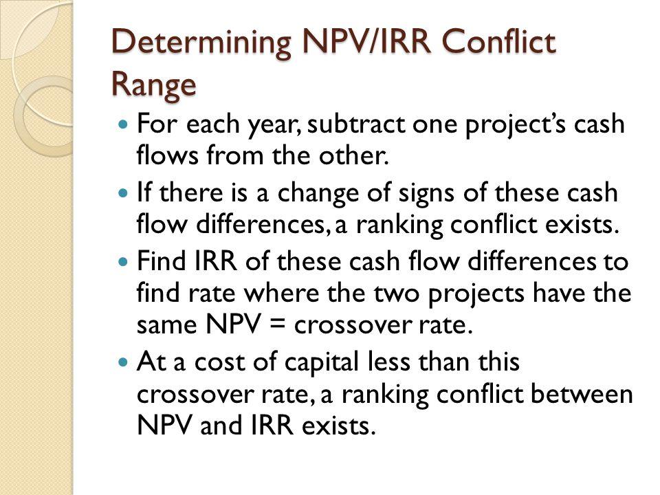 Determining NPV/IRR Conflict Range