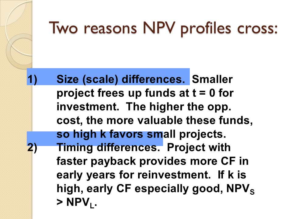 Two reasons NPV profiles cross: