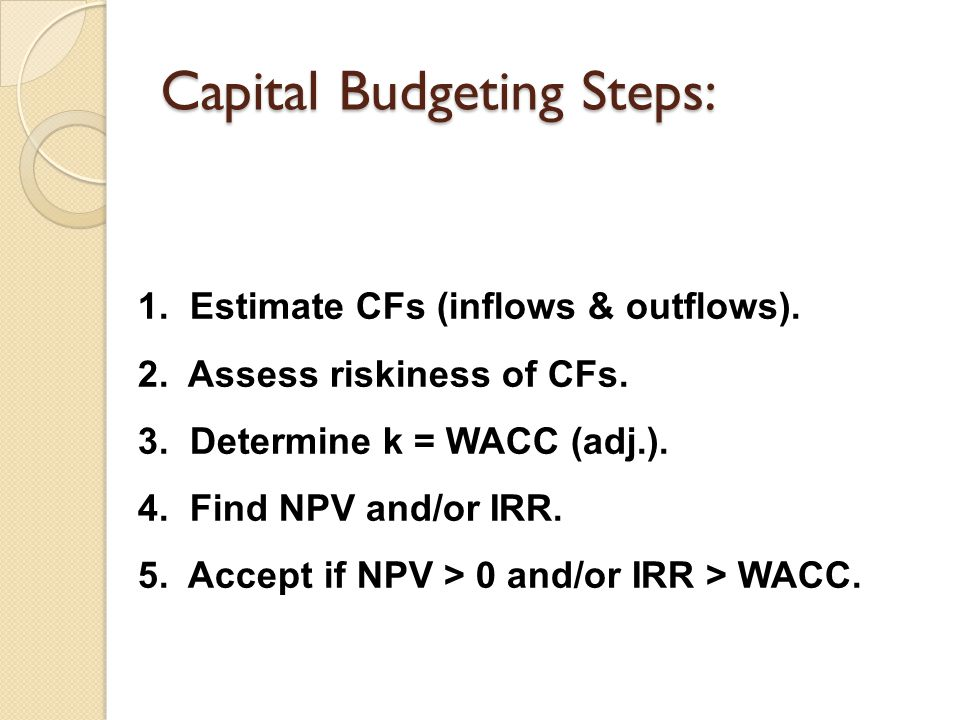 Capital Budgeting Steps:
