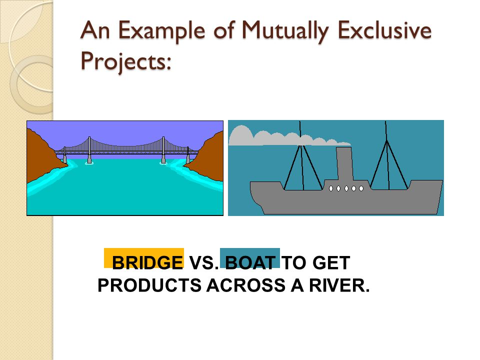 mutually exclusive projects Given two mutually exclusive projects and a zero cost of capital  chapter 12 - page 2 mutually exclusive projects answer: a diff: e 13.