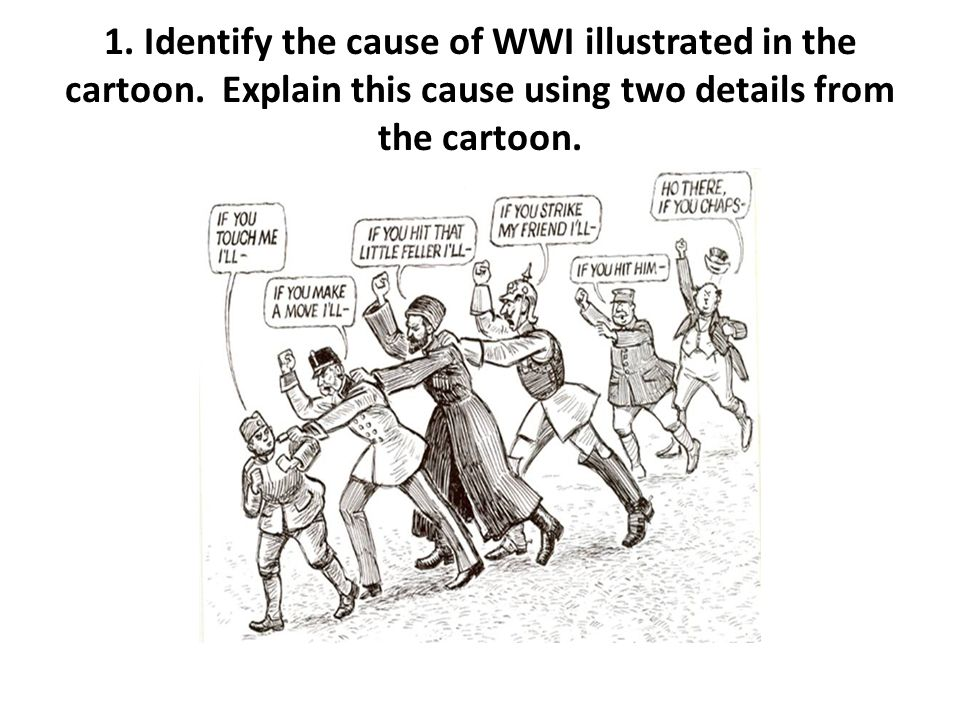 1. Identify the cause of WWI illustrated in the cartoon