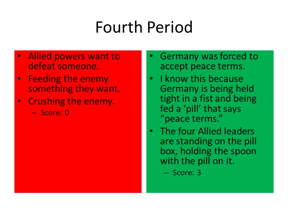 Fourth Period Allied powers want to defeat someone.