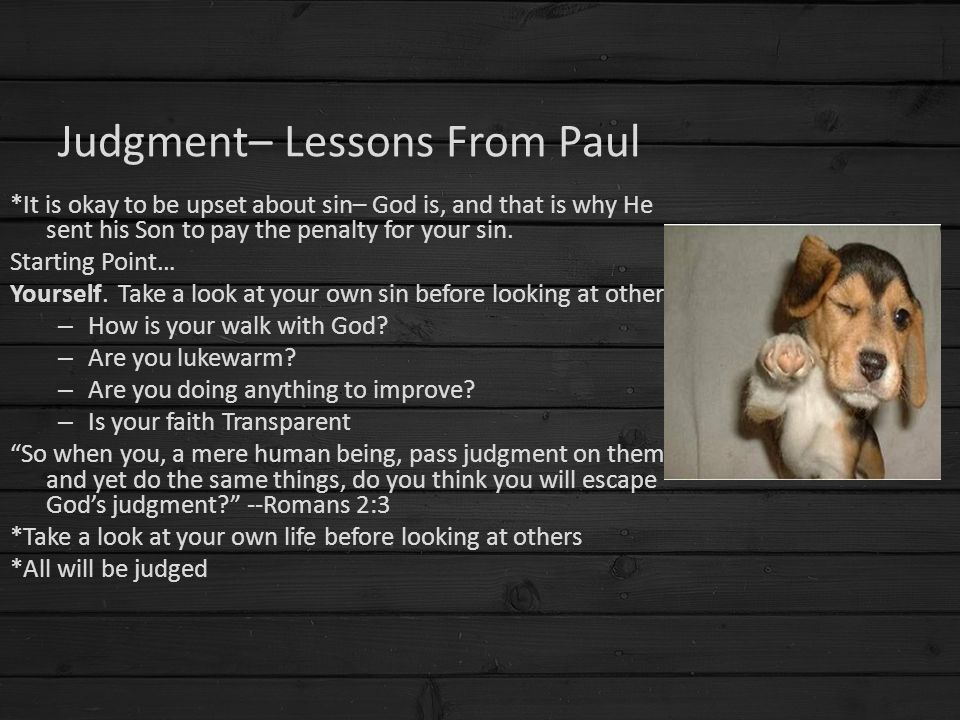 Judgment– Lessons From Paul