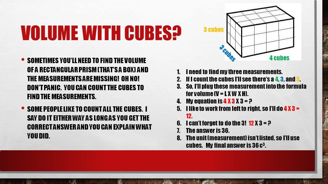 Volume with Cubes 3 cubes. 3 cubes. 4 cubes.