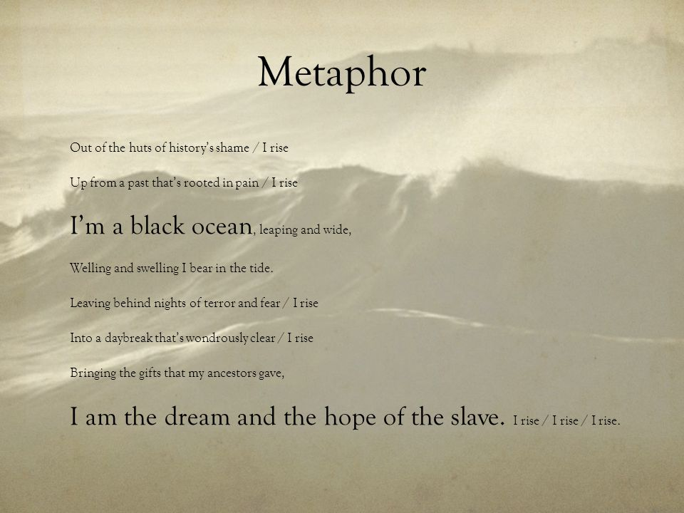 Metaphor I'm a black ocean, leaping and wide,