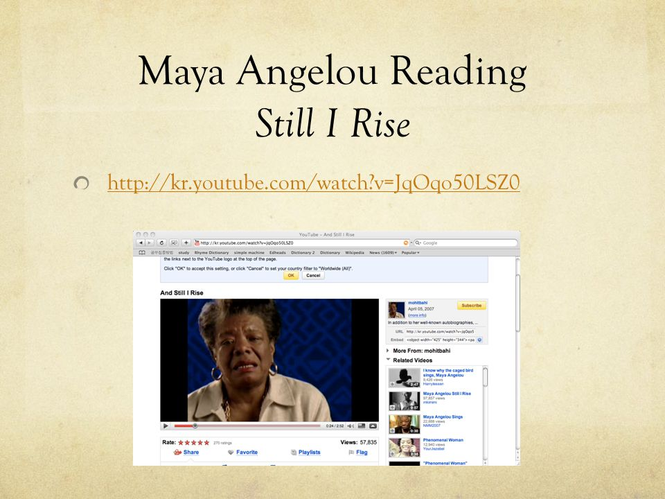 Maya Angelou Reading Still I Rise