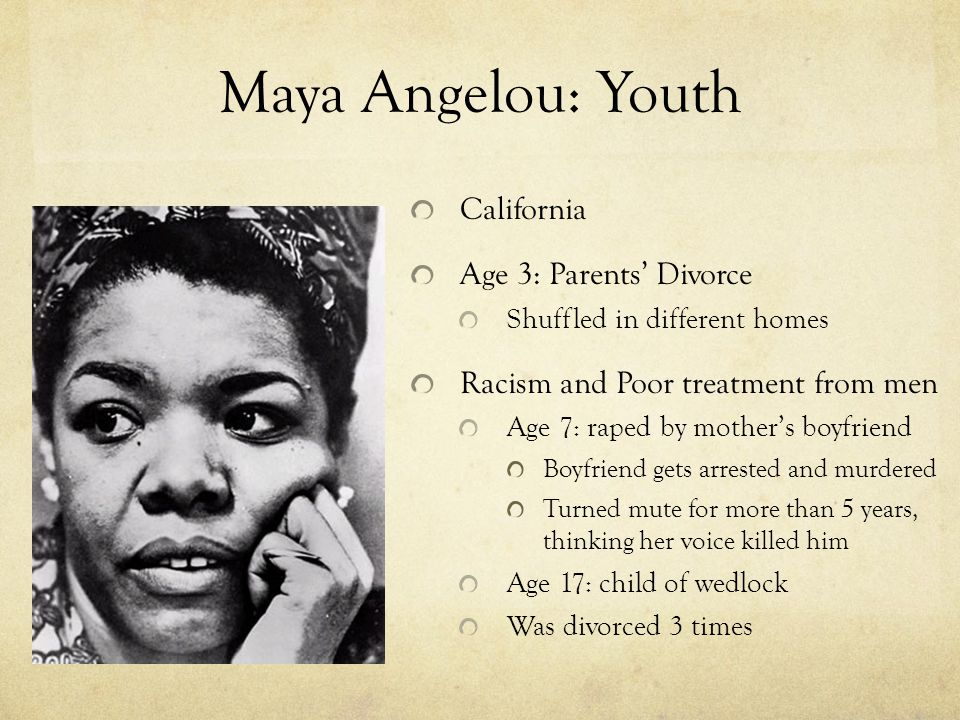 Maya Angelou: Youth California Age 3: Parents' Divorce