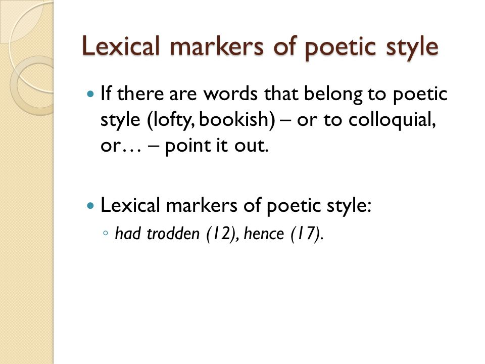 Lexical markers of poetic style