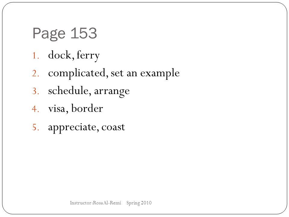 Page 153 dock, ferry complicated, set an example schedule, arrange