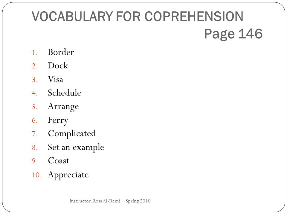 VOCABULARY FOR COPREHENSION Page 146