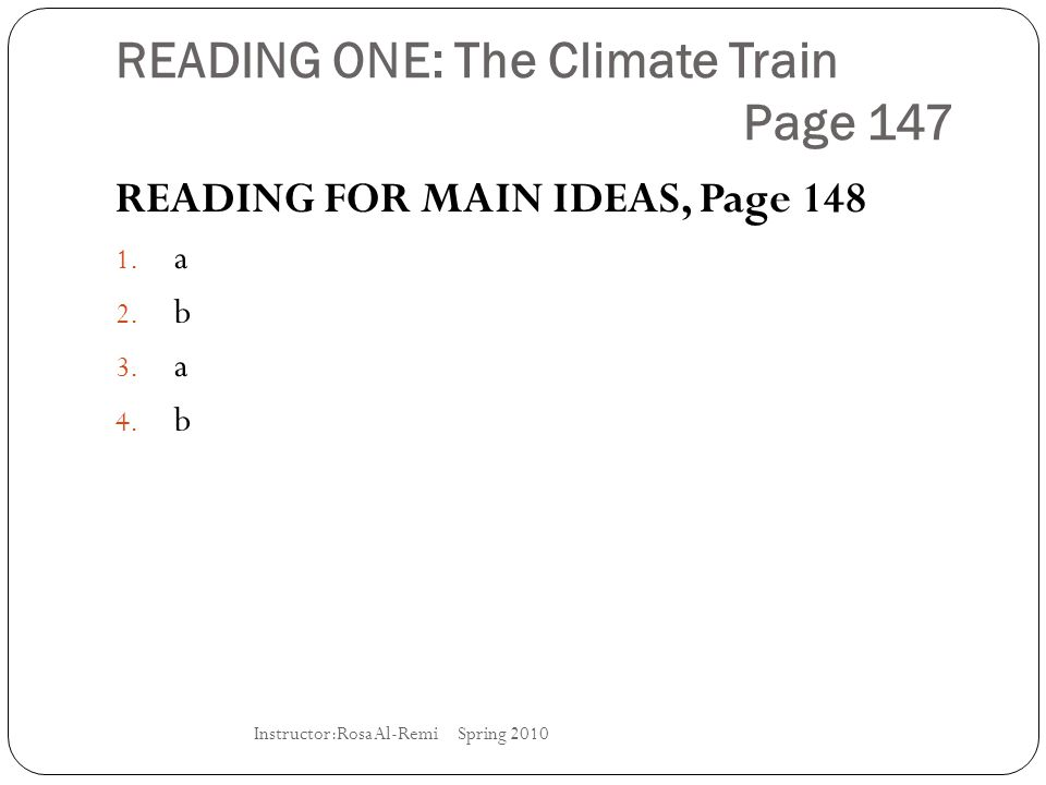 READING ONE: The Climate Train Page 147