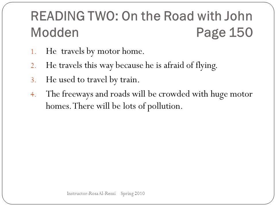 READING TWO: On the Road with John Modden Page 150